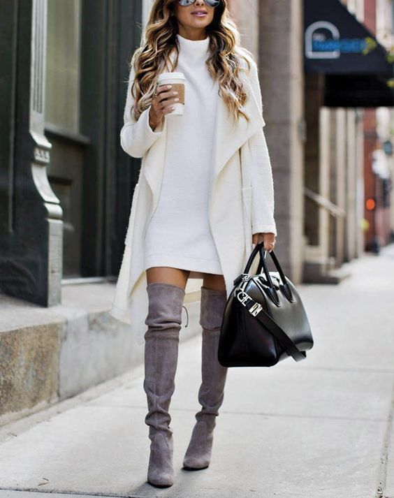 white dress grey boots