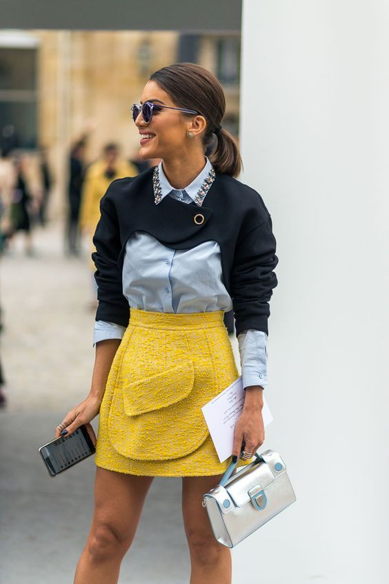 tweed skirt yellow