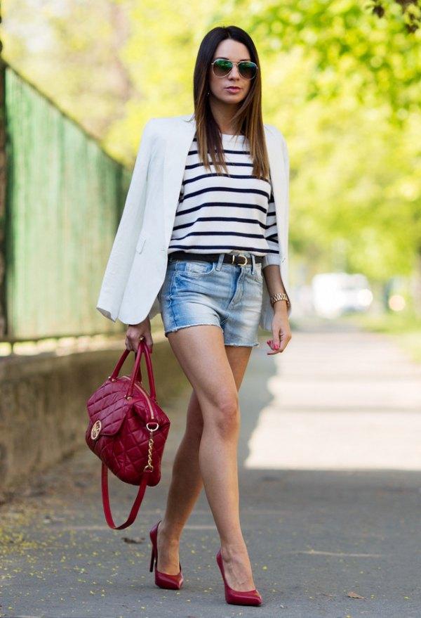 best horizontal striped tee white blazer outfit