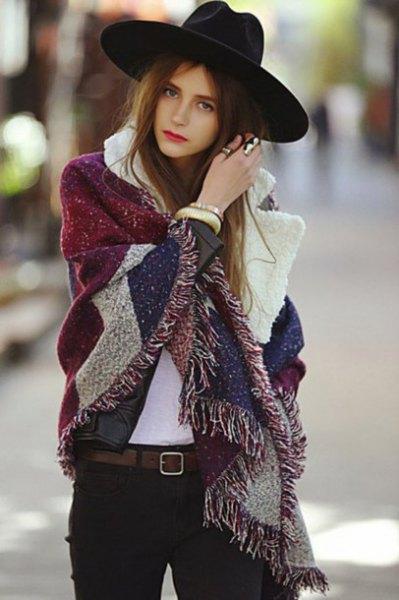 big scarf black felt hat