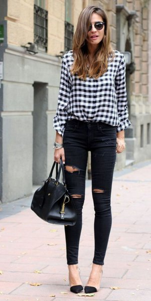black and white plaid shirt ripped skinny jeans