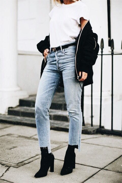 black booties jeans jacket bomber