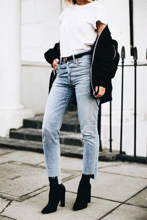 black booties jeans jacket bomber