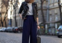 black leather jacket navy blue cropped pants