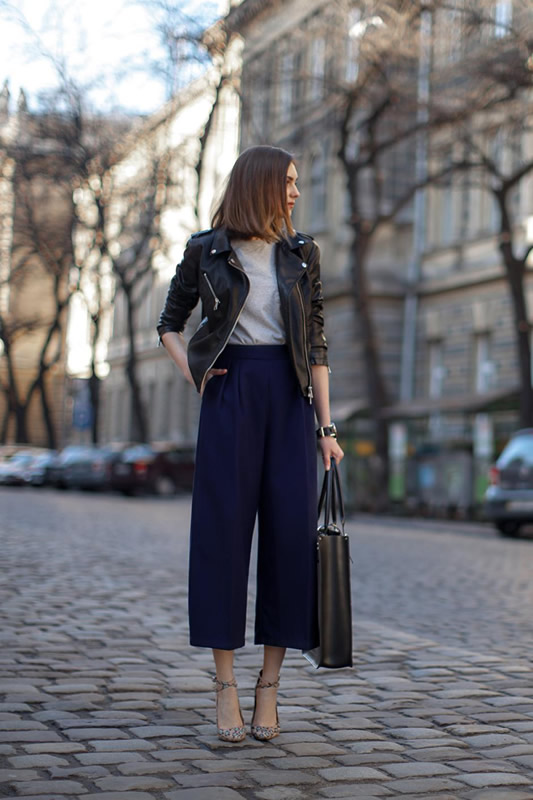 black leather jacket navy blue cropped pants