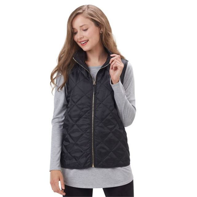 black quilted vest grey t shirt