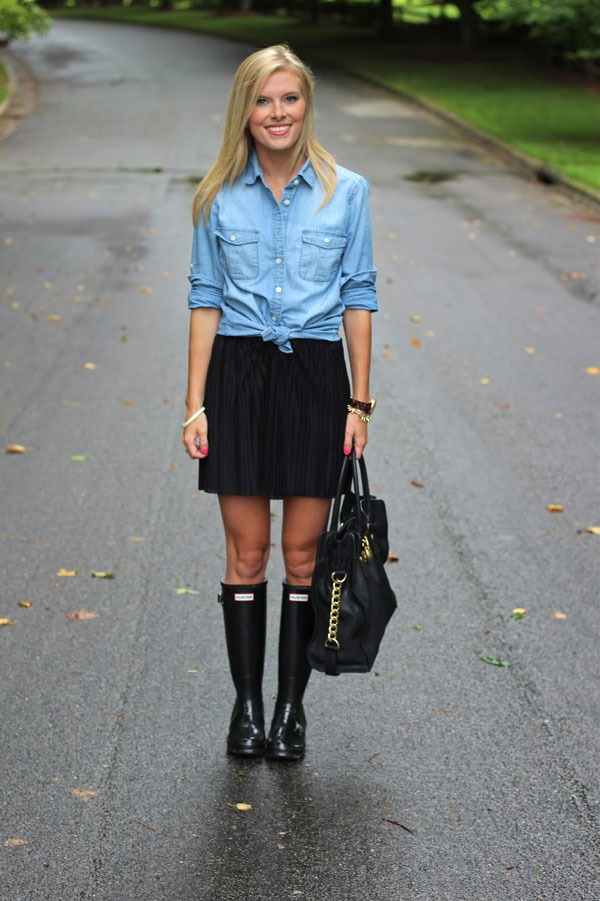 black rain boots wear to work