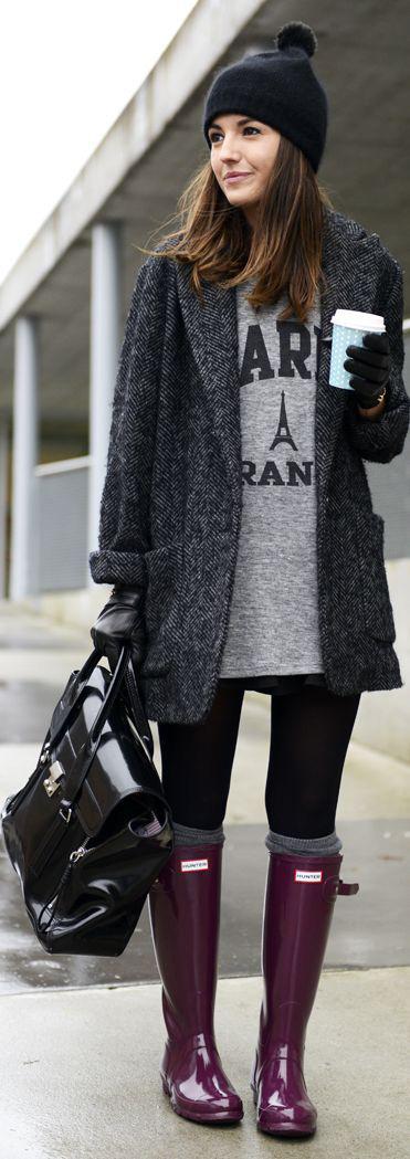 black rain boots with grey coat