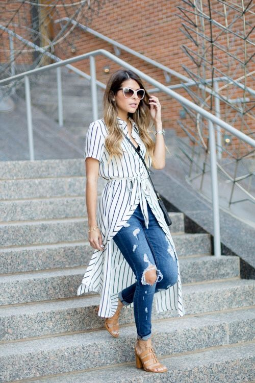 black striped tie around waist long shirt