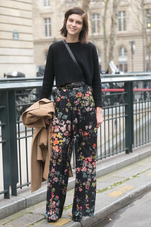 black sweater floral wide leg pants