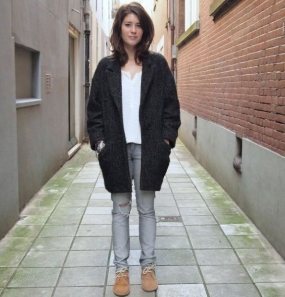 black trench coat jeans chukka boots