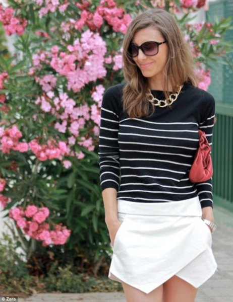 black white striped sweater white skort