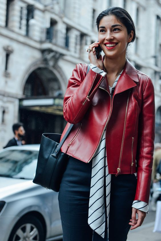 blouse red leather jacket