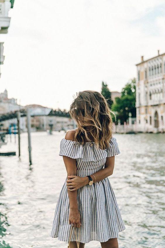blue striped off the shoulder dress