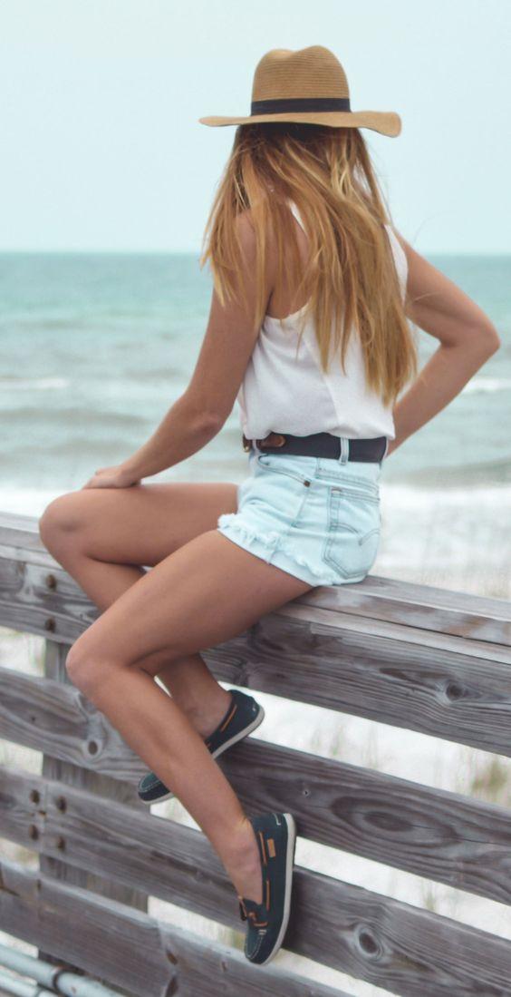 boat shoes denim shorts