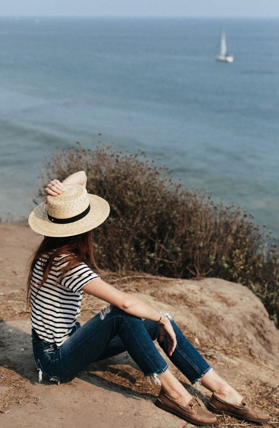 boat shoes striped straw hat