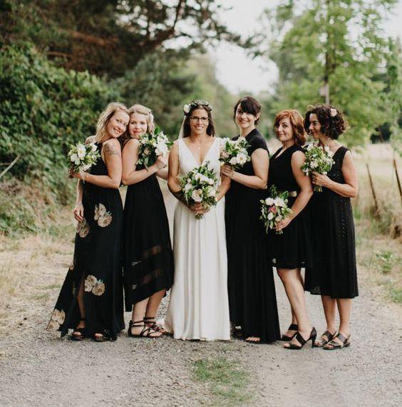 boho black bridesmaid dresses flats