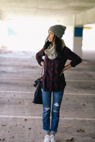 boyfriend jeans scarf plaid shirt