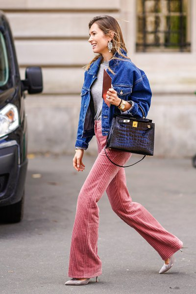 bright blue denim jacket corduroy flare pants