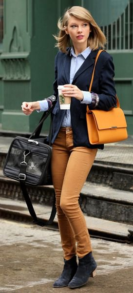 brown corduroy pants denim shirt blazer taylor swift