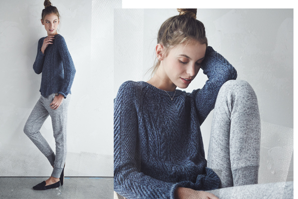 cable knit sweater jogger pants