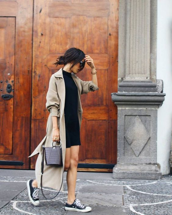 camel trench black sneakers