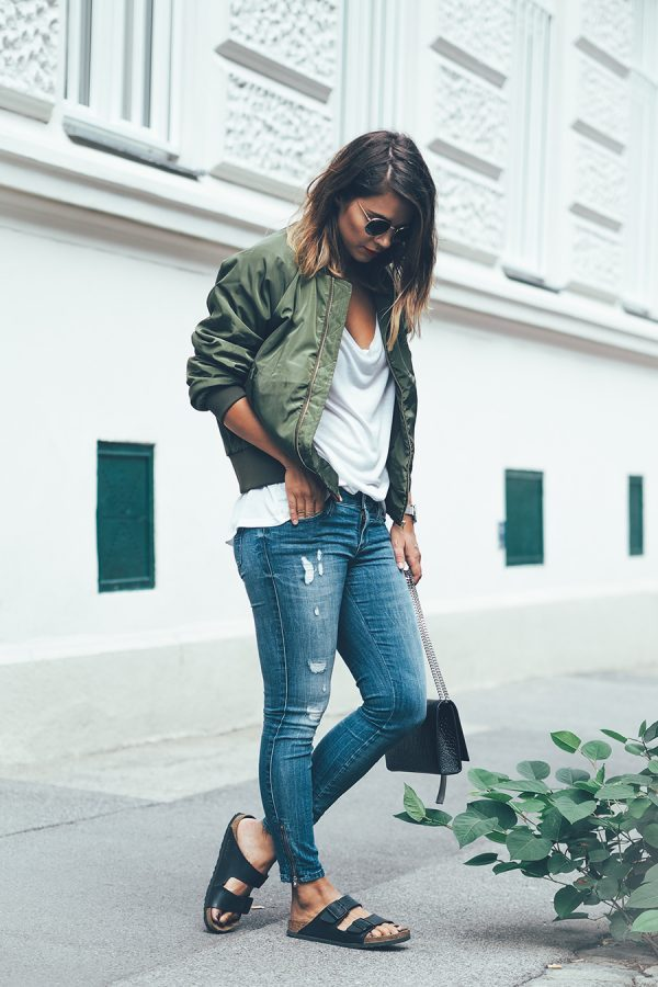 casual style green bomber jacket