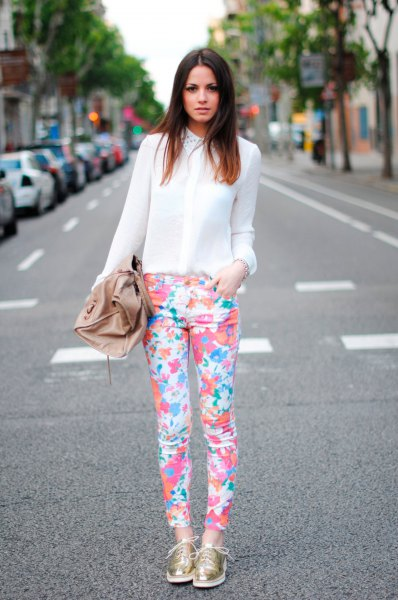 chiffon semi sheer white shirt floral print pants