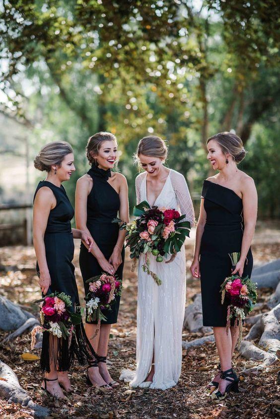 classic black bridesmaid dresses chic