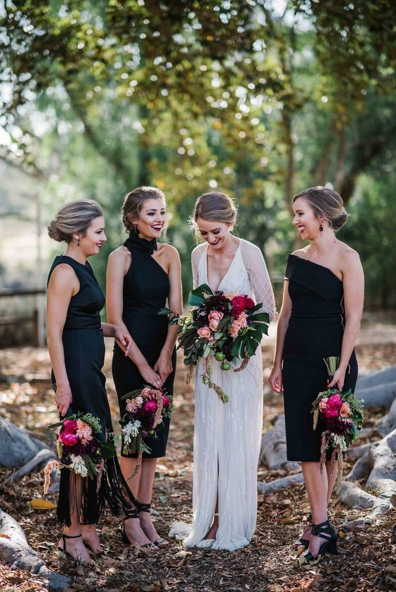 classic black bridesmaid dresses chic