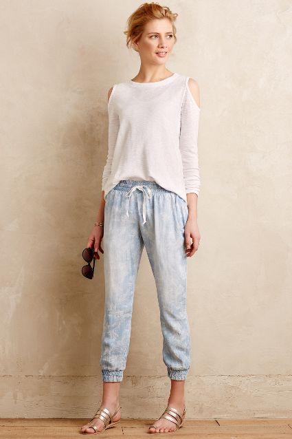 cold shoulder white top denim jogger pants