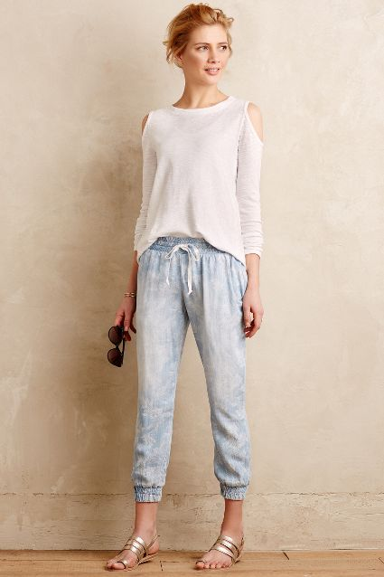 cold shoulder white top denim jogger pants