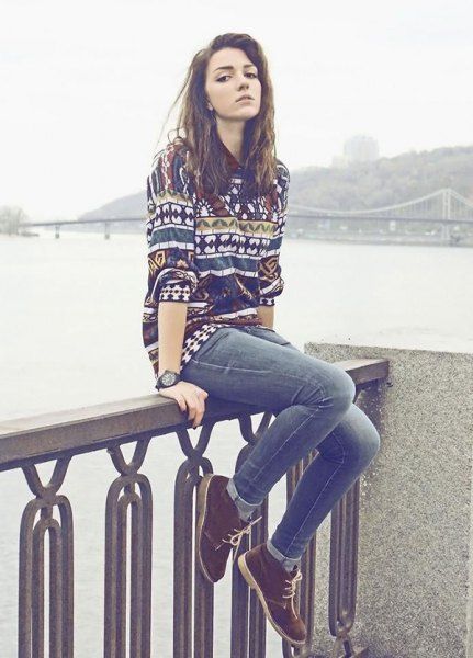 colorful pattern sweater jeans chukka boots