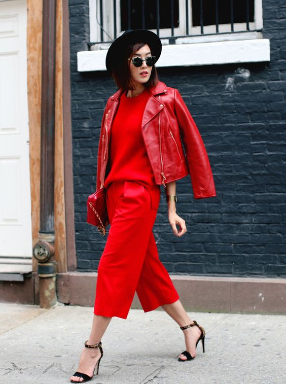 complete red leather jackeet look