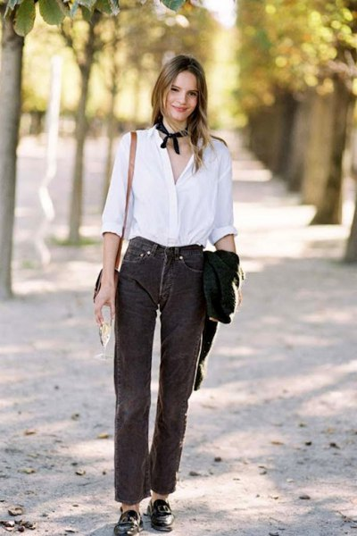 corduroy pants button up white shirt