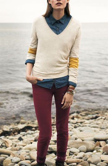 corduroy skinny pants white knit sweater