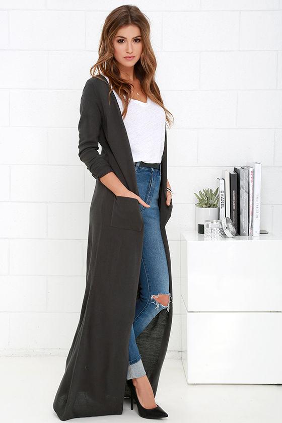 dark grey maxi long cardigan sweater