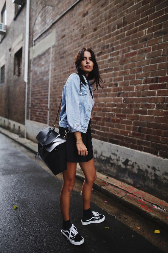 denim jacket black sneakers