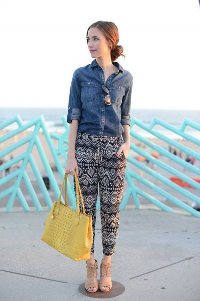 denim shirt printed pants yellow bag