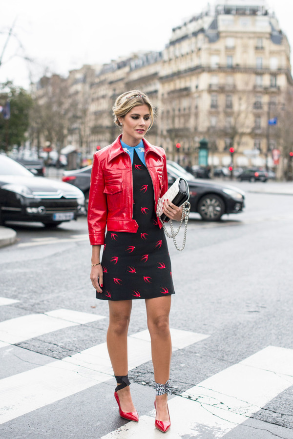 dress red leather jacket