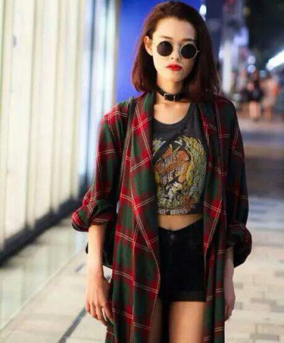 flannel shirt dress cropped tee denim shorts