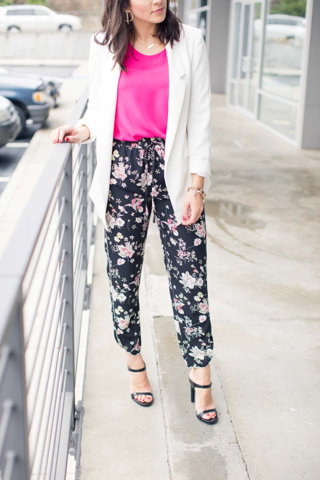 floral jogger pants pink jacket