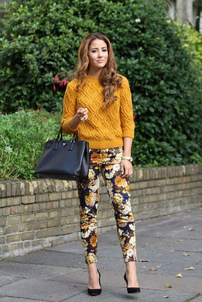 floral pants green yellow knit sweater