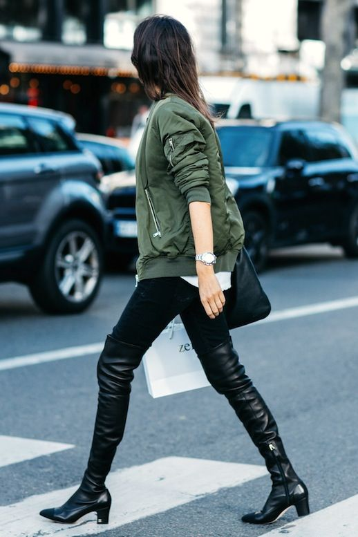 french girl green bomber jacket
