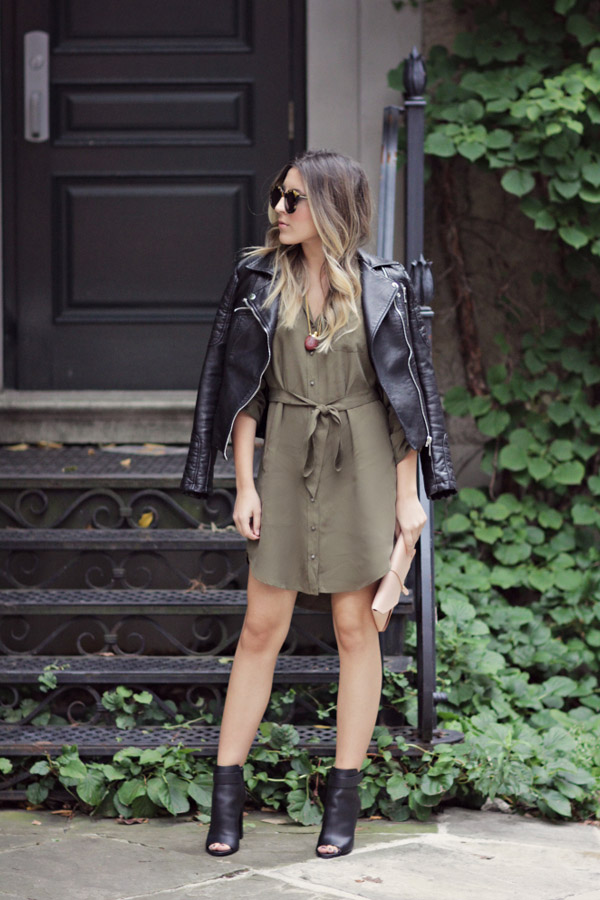 green dress black leather jacket open toe booties