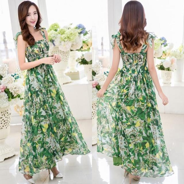 green floral maix dress outfit