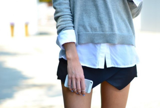 grey cardigan white shirt black skort