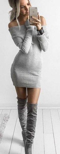 grey knit sweater dress knee high boots
