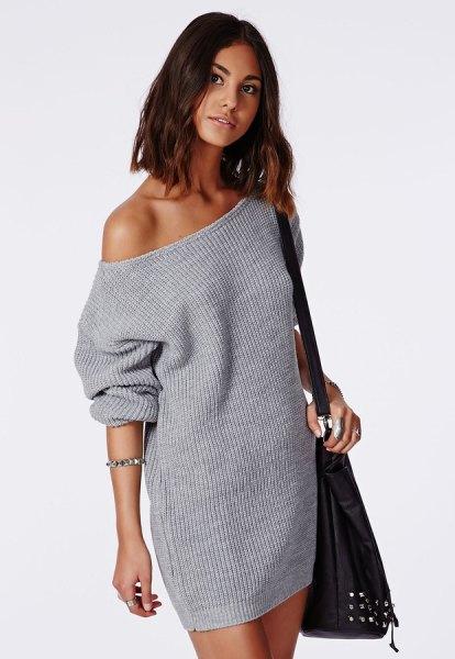 grey off shoulder knit sweater dress