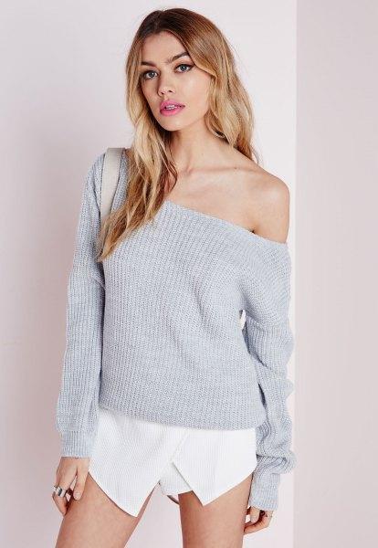 grey off shoulder knit sweater white skort outfit